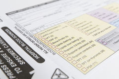 Formulário médico do espécime Imagens de Stock