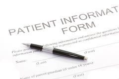 Formulário paciente Imagens de Stock