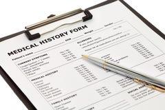 Formulário paciente da história médica Imagem de Stock Royalty Free