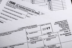 Formulário 1099-R do IRS: Distribuições das pensões, anuidades, Retirem fotografia de stock