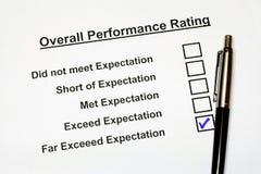 Formulário total 3 da avaliação de desempenho Fotografia de Stock