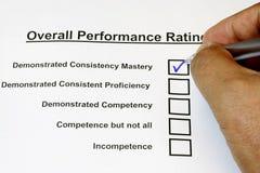 Formulário total da avaliação de desempenho Imagens de Stock Royalty Free
