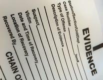 Formulário vazio da evidência fotografia de stock