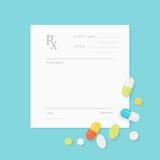 Formulário vazio da prescrição da medicina com os comprimidos dispersados nele ilustração do vetor