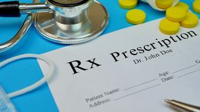 Formulário vazio da prescrição a pronto paciente para ser usado video estoque