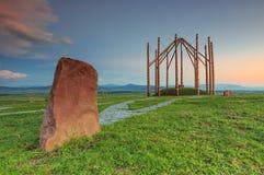 Formulários abstratos do por do sol e pedras eretas na Transilvânia, Romênia Imagem de Stock Royalty Free