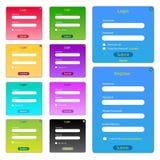 Formulários coloridos do Web ilustração do vetor