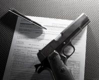 Formulários da compra do revólver Foto de Stock