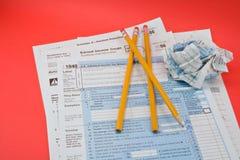 Formulários de imposto 1040 Fotografia de Stock