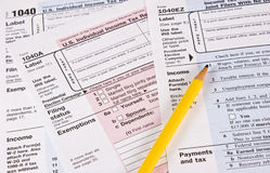 Formulários de imposto da renda Fotografia de Stock