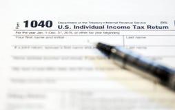 Formulários de imposto dos E.U. fotografia de stock