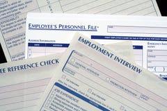 Formulários dos recursos humanos imagem de stock