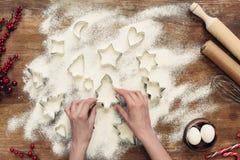 Formulários e ingredientes para cookies do Natal fotos de stock