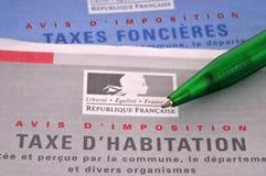 Formulários franceses dos impostos sobre os bens imóveis fotografia de stock