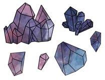 Formulários geométricos Cristais da ametista, pedra roxa, mineral - ilustração da aquarela isolada no fundo branco ilustração royalty free
