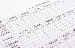 Formulários médicos vazios para o diabetes Foto de Stock