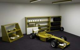 Formula 1, αγωνιστικό αυτοκίνητο στο γκαράζ στοκ εικόνα