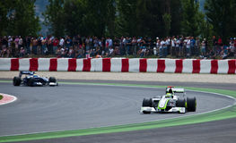 Formula 1: Brawn GP. Montmelo, Spain - May 10: Formula 1 team BrawnGP participates in the Spanish Grand Prix at the Circuit de Catalunya on May 10, 2009. Rubens stock photography
