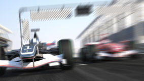 Formula 1 Car. Racing speeding in the track royalty free stock images