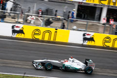 Formula 1 Car. Image of a Mercedes Formula 1 car on the circuit of Hungaroring near Budapest Stock Photos
