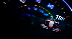 Formula 1 car against a fuel-design background Royalty Free Stock Image