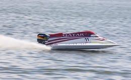Formula 1 H2O Powerboat GrandPr. VYSHGOROD, UKRAINE - JULY 29, 2011: Jay Price of Qatar Team drives during Formula 1 H2O Powerboat World Championship GrandPrix Stock Photography