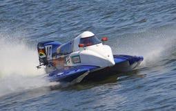 Formula 1 H2O Powerboat GrandPrix. VYSHGOROD, UKRAINE - JULY 29, 2011: Duarte Benavente (POR) F1 Atlantic Team drives during Formula 1 H2O Powerboat World Royalty Free Stock Photos