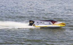 Formula 1 H2O Powerboat GrandPrix. VYSHGOROD, UKRAINE - JULY 29, 2011: Thani Al Qamzi (UAE) of Team Abu Dhabi drives during Formula 1 H2O Powerboat World Royalty Free Stock Image