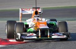 Formula 1 - Nico Hulkenberg. BARCELONA - FEBRUARY 21: Nico Hulkenberg of Force India F1 team racing at Formula One Teams Test Days at Catalunya circuit on Royalty Free Stock Photo