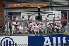 Formula 1 Race Team McLaren. Http://www.formula1.com/results/season/2010/836/ Formula 1 Race, Spa Francorchamps circuit, Belgium. Lewis Hamilton's team changing stock image