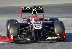 Formula 1 - Romain Grosjean. BARCELONA - FEBRUARY 21: Romain Grosjean of Lotus F1 team races during Formula One Teams Test Days at Catalunya circuit on February Royalty Free Stock Photos