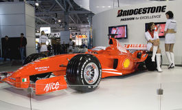Formula 1 in the rubber Bridgestone. MOSCOW, RUSSIA - SEPTEMBER 2: Formula 1 in the rubber Bridgestone presented at the Moscow International Autosalon on Royalty Free Stock Photo