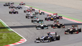 Formula 1 Spanish Grand Prix. BARCELONA - MAY 13: Some cars racing at the race of Formula One Spanish Grand Prix at Catalunya circuit, on May 13, 2012 in royalty free stock photos