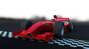 Formula 1 Sport car in action. Checker flag Stock Images