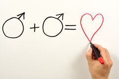 Formula. Two male symbols and heart shape used in a formula royalty free stock photo