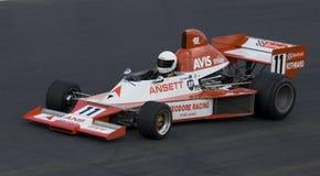 Formula 5000 Elfin Race Car. 1980's Formula 5000 Elfin MR8 racing car on the race track at the Hampton Downs Festival of Motor Sport Stock Image