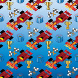 Formula1. Baku 2016 . Seamless pattern. Seamless pattern from formula1 elements, racing car, flags, gold cup and Baku symbol on the blue background. (Can be Stock Illustration