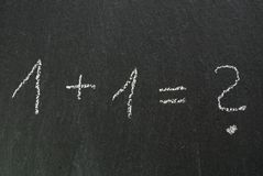 Formula on blackboard. Easy formula with questionmark on chalkboard Stock Image
