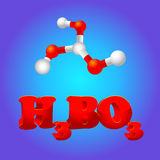 Formula of boric acid with molecular model Stock Images
