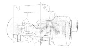 Formula 1 car. Abstract drawing. Tracing illustration of 3d. Formula 1 car. Abstract drawing. Tracing illustration of 3d Stock Image