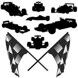 Formula car and flag vector Stock Photo