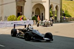Formula 3 car at Bergamo Historic Grand Prix 2017. A Formula 3 car taking the hairpin at the end of Boccola street in Citta` Alta the medieval part of Bergamo Royalty Free Stock Photography