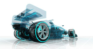 Formula car technology wireframe sketch perspective back view Royalty Free Stock Photo
