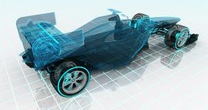 Formula car technology wireframe sketch upper back view vector illustration