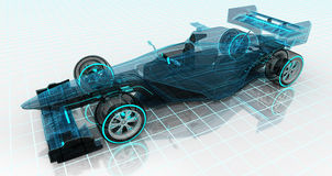 Formula car technology wireframe sketch upper front view Royalty Free Stock Photos