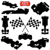 Formula cars, flag and icon royalty free stock photography