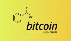 Formula chimica di Bitcoin Bitcoin gradisce una vitamina pp Isome cubico Immagine Stock Libera da Diritti
