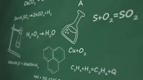 Formula chimica scritta sul bordo di gree un'animazione grafica stock footage