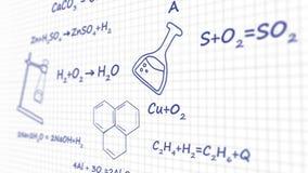 Formula chimica scritta sul bordo un'animazione grafica del fondo bianco stock footage