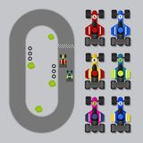 Formula 1 del bene del gioco di vista superiore 2D Immagini Stock Libere da Diritti